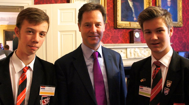 Ex-students with Nick Clegg at the European Mock Council Debate